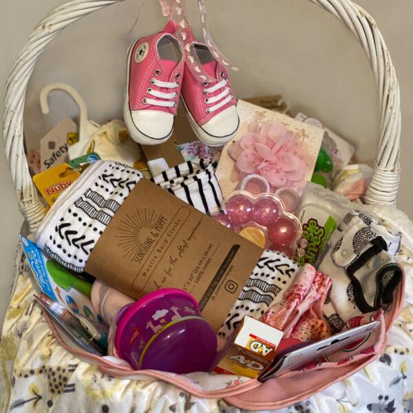 baby basket essentials pink theme